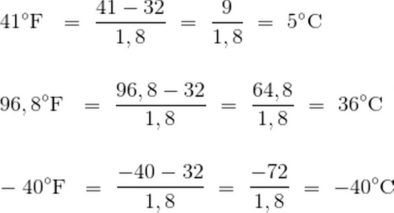 calcolo gradi Fahrenheit e gradi centigradi